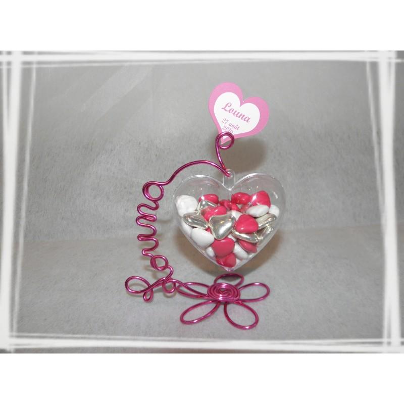 papillon drag es support pr nom fil aluminium motif fleur fuchsia et rose. Black Bedroom Furniture Sets. Home Design Ideas