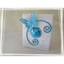 Boîte à dragées papillon turquoise