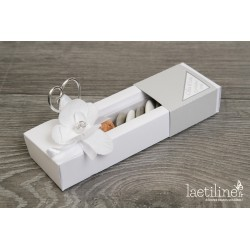 Boîte à dragées mariage gris et blanc