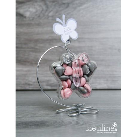 Papillon à dragées Plexi support Fleur