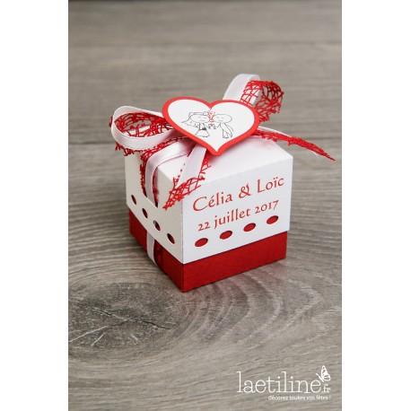 Boîte à dragées mariage rouge