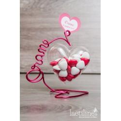 Boîte à dragées Coeur Plexi Prénom