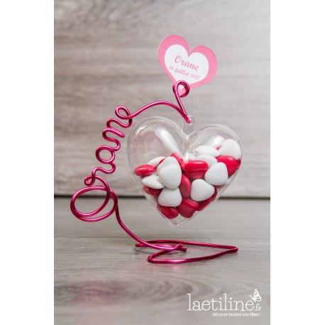 Coeur à dragées prénom fil aluminium